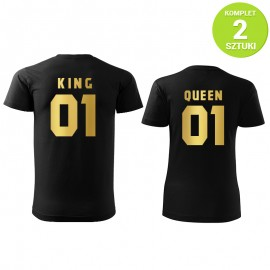 King and Queen GOLD komplet koszulek z nadrukiem
