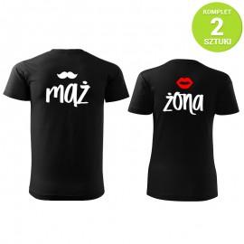 Mąż i Żona BLACK komplet koszulek z nadrukiem