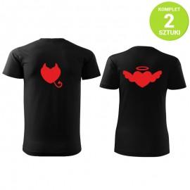Diabeł i Anioł komplet koszulek z nadrukiem