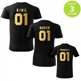 King, Queen and Princess GOLD komplet koszulek z nadrukiem
