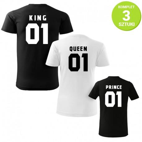 King, Queen and Prince B&W komplet koszulek z nadrukiem
