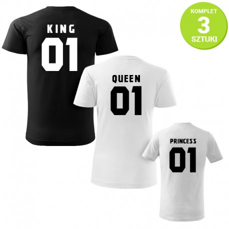 King, Queen and Princess B&W komplet koszulek z nadrukiem