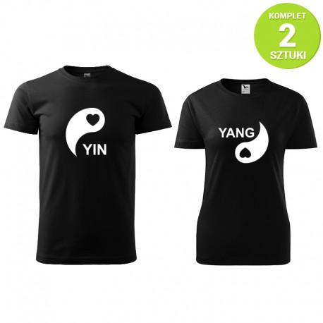 Yin i Yang komplet koszulek z nadrukiem