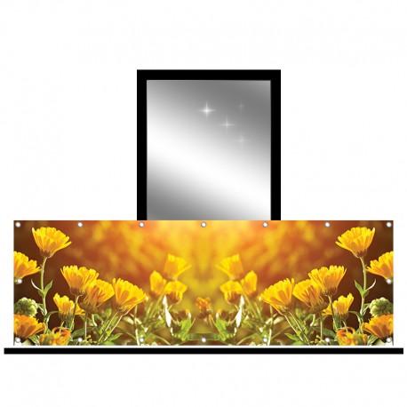 Osłona balkonowa jednostronna - żółte kwiaty