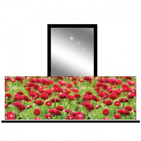 Osłona balkonowa jednostronna - czerwone kwiaty