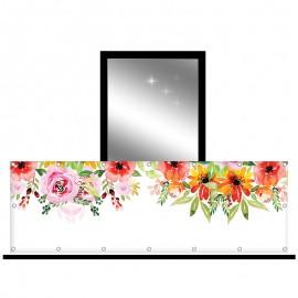 Osłona balkonowa jednostronna - kwiaty malowane