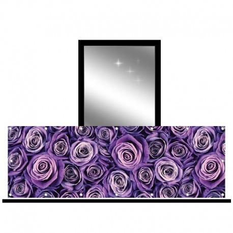 Osłona balkonowa siatka - fioletowe róże