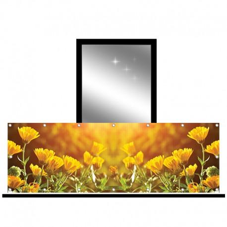 Osłona balkonowa siatka - żółte kwiaty