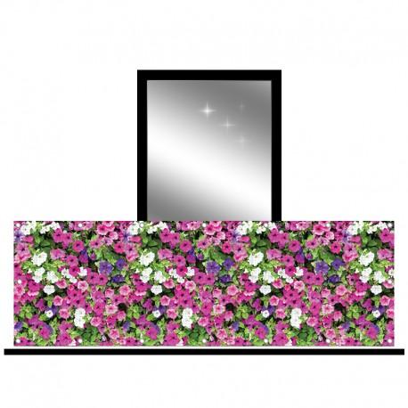 Osłona balkonowa siatka - różowe surfinie