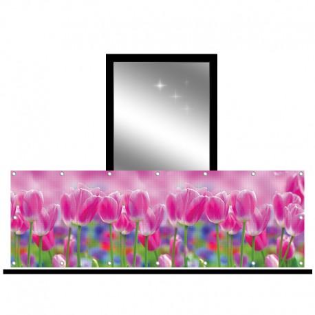Osłona balkonowa siatka - tulipany