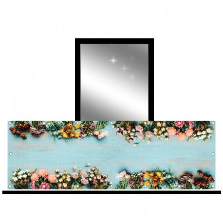 Osłona balkonowa siatka - kwiaty kolorowe