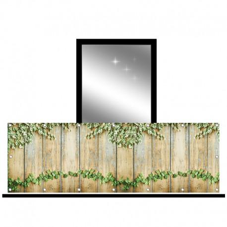 Osłona balkonowa jednostronna - bluszcz na deskach