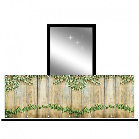 Osłona balkonowa siatka - bluszcz na deskach