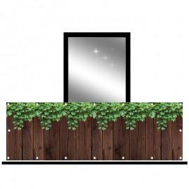 Osłona balkonowa siatka - bluszcz z deskami
