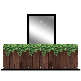Osłona balkonowa jednostronna - bluszcz z deskami