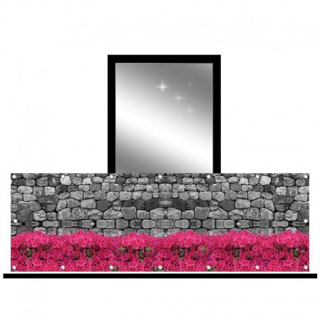 Osłona balkonowa jednostronna - surfinie i kamień