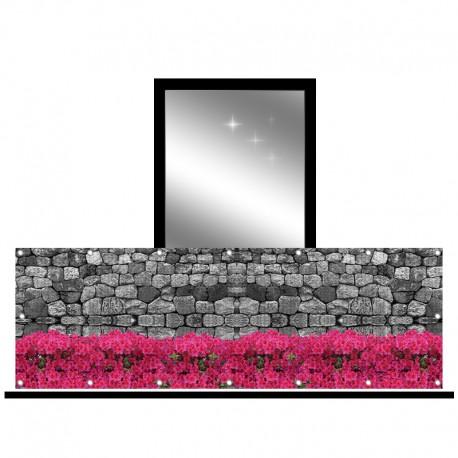 Osłona balkonowa siatka - surfinie i kamień