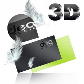Wizytówki dwustronne lakier wybiórczy UV 3D + folia soft touch - aksamitna