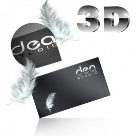 Wizytówki jednostronne srebrzenie 3D + folia soft touch - aksamitna