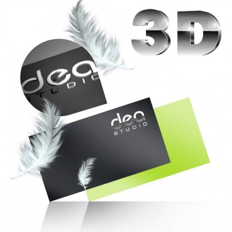 Wizytówki dwustronne srebrzenie 3D + folia soft touch - aksamitna