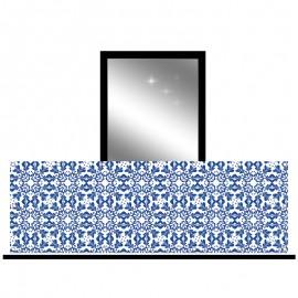 Osłona balkonowa jednostronna - Niebieski ornament