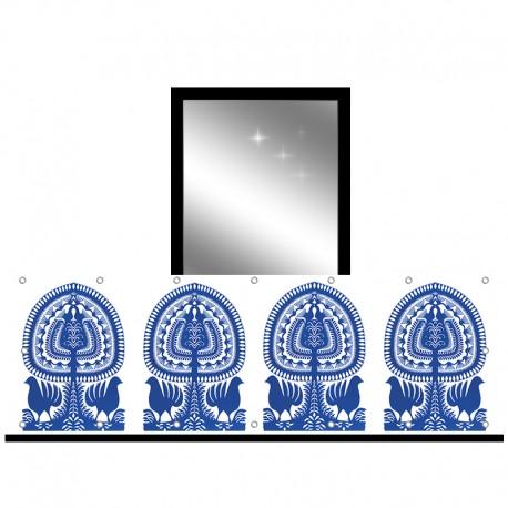 Osłona balkonowa jednostronna - Niebieski folklor