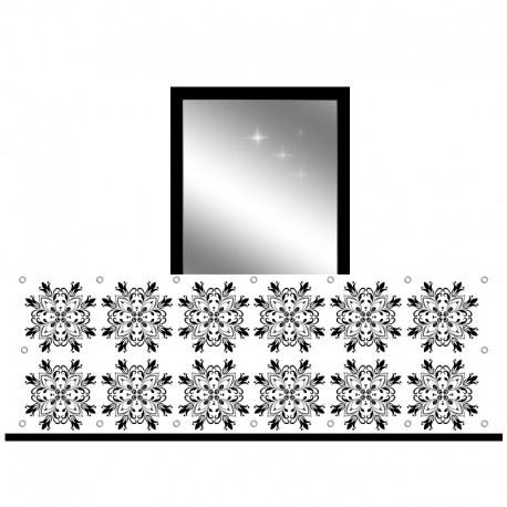 Osłona balkonowa jednostronna - Czarne ornamenty