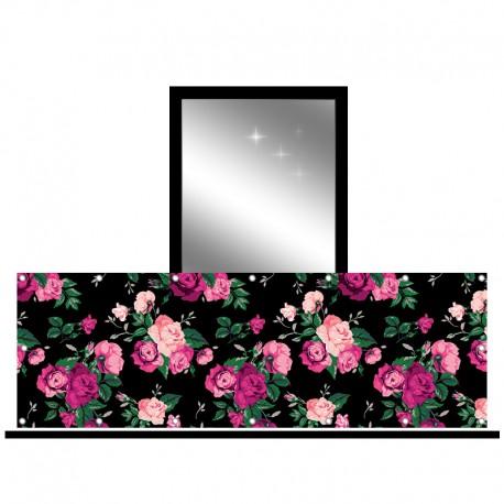 Osłona balkonowa jednostronna - Kwiaty retro