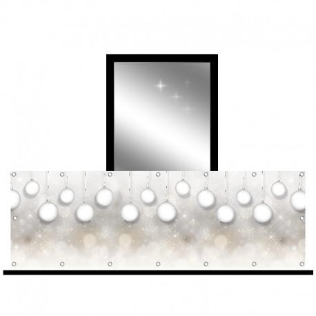 Osłona balkonowa jednostronna - Białe bombki