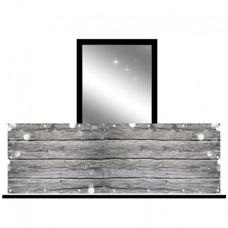 Osłona balkonowa jednostronna - Szare deski z błyskiem
