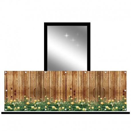 Osłona balkonowa jednostronna -  Żółte róże na deskach