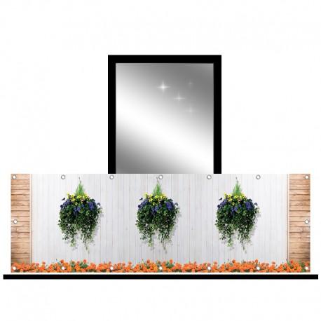 Osłona balkonowa jednostronna -  Kolorowe kwiaty na deskach