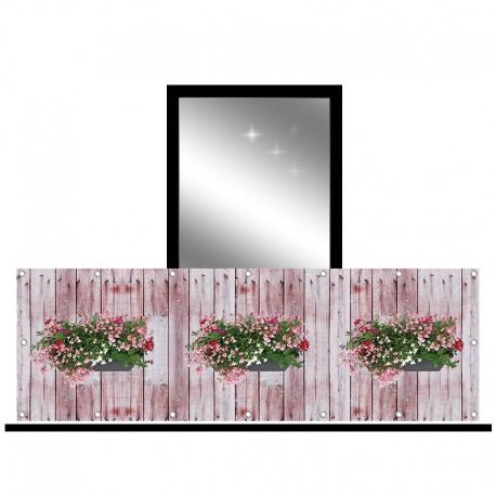 Osłona balkonowa jednostronna -  Mieszane kwiaty na deskach