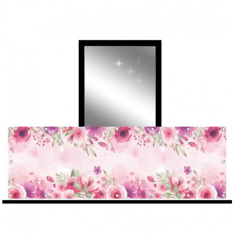 Osłona balkonowa jednostronna - Różowe kwiaty