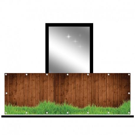 Osłona balkonowa jednostronna -  Deski i trawa
