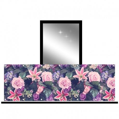 Osłona balkonowa jednostronna - Fioletowo-różowe kwiaty