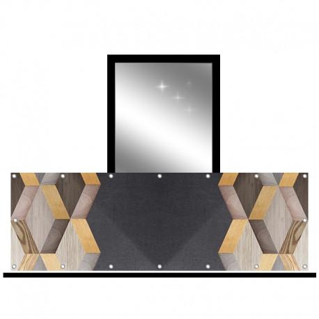 Osłona balkonowa jednostronna - Kompozycja drewniana