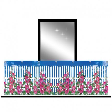 Osłona balkonowa jednostronna - Biały płot z kwiatami
