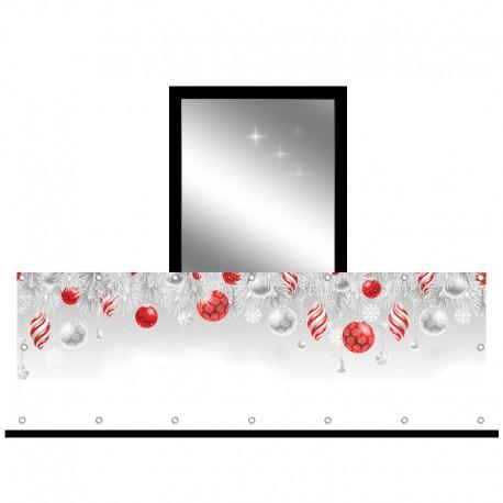 Osłona balkonowa jednostronna - Biało-czerwone bombki