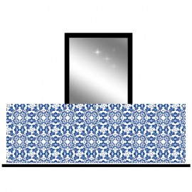 Osłona balkonowa siatka - Niebieski ornament