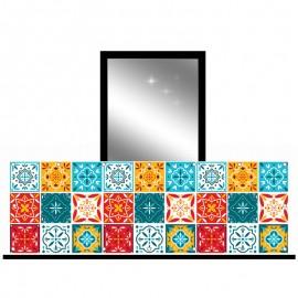 Osłona balkonowa siatka - Kolorowa mozaika