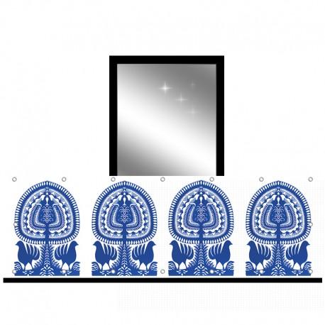Osłona balkonowa siatka - Niebieski folklor