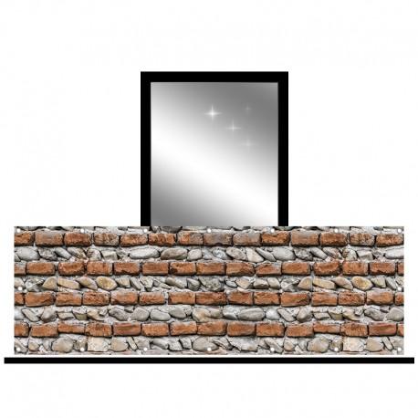 Osłona balkonowa siatka - Cegła i kamień