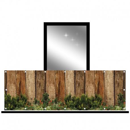 Osłona balkonowa jednostronna - Deski i rośliny