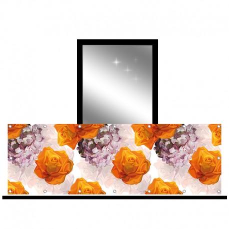 Osłona balkonowa jednostronna - Róże i hortensje