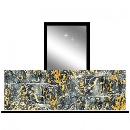 Osłona balkonowa jednostronna - Czarno-żółty marmur