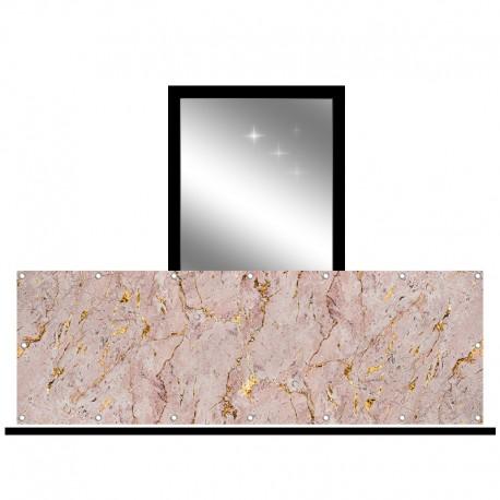 Osłona balkonowa jednostronna - Różowy marmur ze złotem