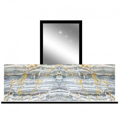 Osłona balkonowa jednostronna - Szary marmur ze złotem
