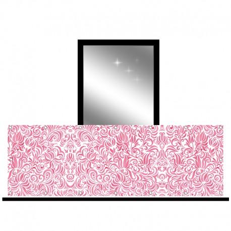 Osłona balkonowa jednostronna - Różowe zawijasy