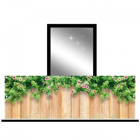 Osłona balkonowa jednostronna - Delikatne kwiaty na deskach